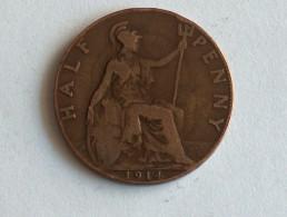 UK 1/2 PENNY 1914 HALF GRANDE BRETAGNE - 1902-1971 : Monnaies Post-Victoriennes