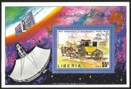 G)1974 LIBERIA, EARTH-SATELLITE-SPACE, UPU EMBLEM-ENGLISH COACH, UPU'S 100TH ANNIV. AIRMAIL S/S, MNH SCT C201 - Liberia