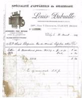 FACTURE SPECIALITE D'APPAREILS DE GRAISSAGE POUR MOTEURS 1916 LOUIS DUBRULLE CLICHY - Francia
