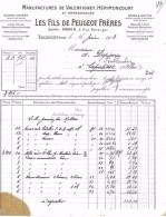 FACTURE MANUFACTURES DE VALENTIGNEY-HERIMONCOURT 1913 LES FILS DE PEUGEOT FRERES 25 VALENTIGNEY - Petits Métiers