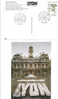 PLACE DES TERREAUX HOTEL DE VILLE DE LYON Avec PAUL BOCUSE  1987 - Gedenkstempel