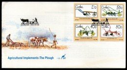 Ciskei 1990 Agricultural Implements Plough Wooden Beam Plow Sc 155-58 FDC # 6426 - Agriculture
