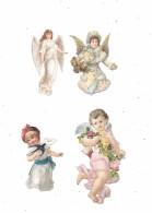 9463 - Lot De 4 Découpis, Bébé, Enfant, Femme Anges, - Angeles
