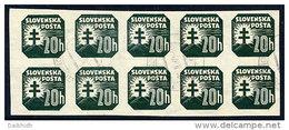 SLOVAKIA 1939 Newspaper 20 H. With Watermark, Used Block Of 10.  Michel 61y - Slovakia