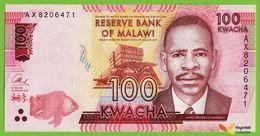 Voyo MALAWI 100 Kwacha 2016 P65b B160b UNC Prefix AX Education - Malawi