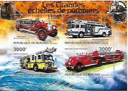 BURUNDI SHEET. LES GRANDES ECHELLES DE POMPIERS.  LARGE FIREFIGHTERS SCALES. 2012. PERFORADO NUEVO. - Burundi