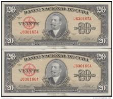 1958-BK-152  CUBA 1958. BANCO NACIONAL. 20$. ANTONIO MACEO. UNC. 2 CONSECUTIVOS. - Cuba