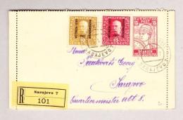 Bosnien U Herzegowina KuK SARAJEVO  15.5.1917 Eingeschriebene Orts-Ganzsache Mit Zusatzfrankatur - Levante-Marken