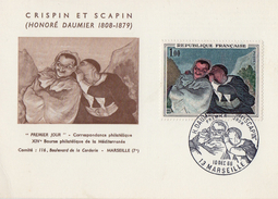 FDC France   Honoré Daumier - Crispin Et Scapin    10/12/1966  13 Marseille   YT  1494 - FDC