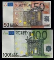 """EURO-Noten """"50 EURO + 100 EURO A 1"""", Gutscheine,  Beids. Druck, RRRR, UNC -, Ca. 172 X 95 Mm + 184 X 100 Mm - EURO"""