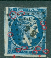 GREECE LARGE HERMES HEAD 20 L. 1862 - 1867 HELLAS 19 Pos 148 - 1861-86 Hermes, Gross