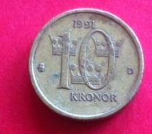 Sweden 10 Kroner 1991 VF+ - Schweden