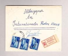 Bulgarien PANAGYURISTE ?-4-1953 R-Brief Nach Genf Roter Kreuz Mit Rückseitig 3-er Streifen Vignette - Covers & Documents