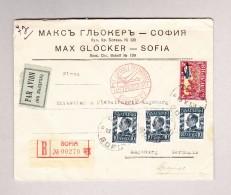 Bulgarien SOFIA 13-5-1931 Flugpost R-Brief Nach Augsburg Mit Transitstempel Rot Luftpostamt Berlin C2 - Cartas