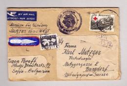 """Bulgarien SOFIA 13.8.1947 Poste Aérienne Luftpost Brief """" Muster Ohne Wert"""" Nach Burgdorf - Covers & Documents"""