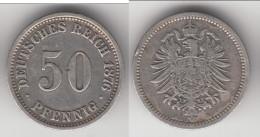 **** ALLEMAGNE - GERMANY - 50 PFENNIG 1876 A - ARGENT - SILVER *** EN ACHAT IMMEDIAT !!! - [ 2] 1871-1918 : German Empire