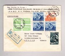 Bulgarien SOPHIA 4.8.1944 Luftpost Siegel R-Brief Nach Zürich - 1909-45 Royaume