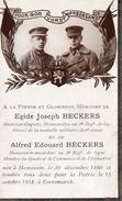 Image Mortuaire Egide Et Alfred BECKERS HEMIXEM - KORTEMARK Dixmuide 1918 8ème Régiment De Ligne - Guerre, Militaire