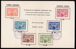 Bolivia 1957 Train / Railway Opening Set/6 On Presentation Card With Special Ferrocarril Fdc Cancels.
