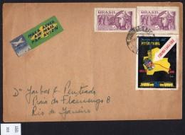 Brazil 1950s Cover With Corumba-Santa Cruz Railway Map And Train Cinderella, Tied By Postal Cancel - Trains