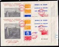 Ecuador 1957 Railway Eisenbahn Ferrocarril M/s (x2) On Fdc Viaduct Bridge Tunnel – Train Cancel – Uncommon. - Ecuador