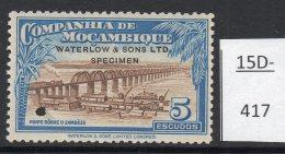 Mozambique Co. 5 Esc Railway Train On Bridge Waterlow Sample / Specimen In Unissued Colours MH - Trains