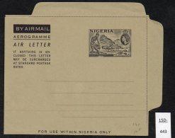 Nigeria QEII 2d Airletter Mint, Railway Mine Trucks, Tin Mine, Crane.  Very Fresh - Nigeria (...-1960)