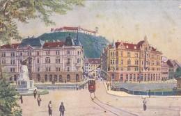 LAIBACH - Marien Platz Mit Presern Denkmal_tramway - Tranvía