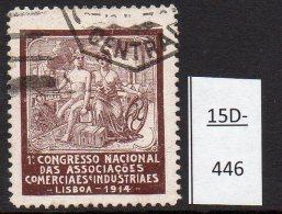 Portugal 1914 Poster Stamp: Industry, Hermes, Railway Train, Estrada De Ferro, Ship, Nude - With Postal Cancel - Trains