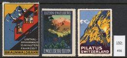Switzerland : THREE Poster Stamps / Cinderella : Train Railway Eisenbahn Chemin De Fer Ferrocarril