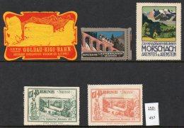 Switzerland : FIVE Poster Stamps / Cinderella : Train Railway Eisenbahn Chemin De Fer Ferrocarril