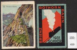 Switzerland : TWO Poster Stamps / Cinderella : Train Railway Eisenbahn Chemin De Fer Ferrocarril