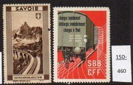Switzerland : TWO Poster Stamps / Cinderella : Train Railway Eisenbahn Chemin De Fer Ferrocarril - Unclassified
