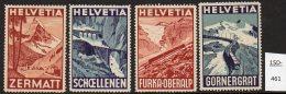 Switzerland : FOUR Poster Stamps / Cinderella : Train Railway Eisenbahn Chemin De Fer Ferrocarril Bridge - Switzerland