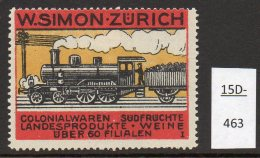 Switzerland : W.SIMON ZURICH Poster Stamps / Cinderella : Train Railway Eisenbahn Chemin De Fer Ferrocarril - Switzerland