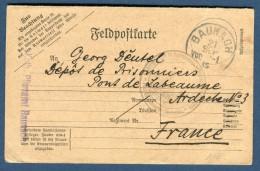 ALLEMAGNE - Carte En Franchise De Baunach Pour Prisonnier De Guerre En France En 1915   Réf  N 1