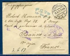 ALLEMAGNE - Enveloppe En Franchise De Kreiensen Pour Prisonnier De Guerre En France En 1917   Réf  N 10