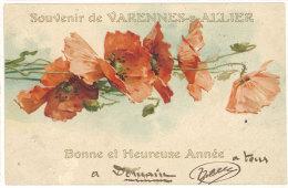 Cpa Souvenir De Varennes Sur Allier ( Fleurs, Coquelicots, Style Klein )  ((S.717)) - France