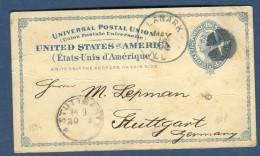 Etats - Unis - Entier Postal ( Quelques Froissures ) De Lanark Pour Stuttgart En 1894  Réf  N 44