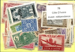 75 Timbres Cote D´ivoire Avant Independance