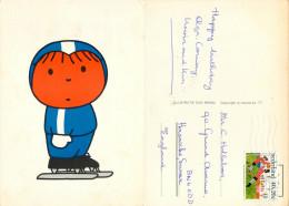 Dick Bruna, Boy On Ice Skates, Netherlands Postcard Posted 1976 Semi-postal Stamp - Niederlande