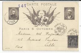 SAGE - 1896 - PSEUDO CARTE ENTIER De La VISITE Du TSAR VOYAGEE De PARIS Pour LILLE - Pseudo-interi Di Produzione Privata