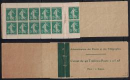 France - CARNET Type Semeuse 5c Vert N° 137 C3 Avec Couverture Complete TIMBRES NEUFS ** - Booklets