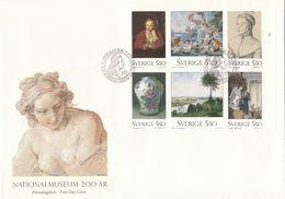 ART HILL REMBRANDT DURER BOUCHER LARSSON - SWEDEN SUEDE SCHWEDEN  1992 MI 1732 - 1737 FDC Slania National Muzeum Museum - Rembrandt