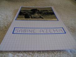 AUTOGRAPHE DÉDICACÉ DE SABINE AZÉMA SUR COUPURE DE PRESSE COLLÉE SUR CARTON BRISTOL (15 X 21 Cm) - VOIR DESCRIPTION - Autographs