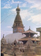 COLOUR PICTURE POST CARD PRINTED IN NEPAL - SWOYAMBHU, BIGGEST STUPE IN WORLD - TOURISM & HINDUISM THEME - HINDU TEMPLE - Nepal