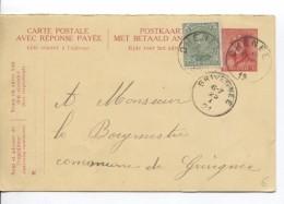Entier CP 63 Partie Réponse + TP 137 C.Chenée 24/1/1921 V.Grivegnée C.d'arrivée PR3586 - Stamped Stationery