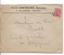 TP 138 S/L.de J.Chevalier Notaire à Ollignies Griffe Encadrée Lessines Sur Le TP PR3587 - Postmark Collection