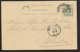 B 84) Belgien 1893 Mi# P 22I: Heyst-sur-Mer Nach Ostende (Ankunfts-Stempel) - 1884-1891 Leopold II.