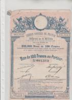 CREDIT  FONCIER  DE  FRANCE - Emprunt  De  23  Millions - Bon  De  100 Francs Au Porteur - N°  061,313 - Shareholdings